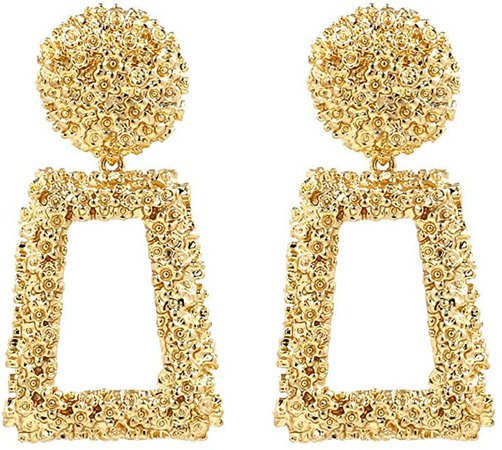 Amazon.com: ATIMIGO Gold Statement Drop Earrings Large Metal Rectangle Geometric Dangle Earrings for Women Girls: Clothing