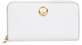 F is Logo Zip Around Leather Wallet
