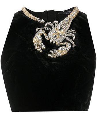Balmain scorpion-embellished top