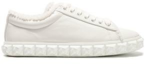 Fringe-trimmed Leather Sneakers