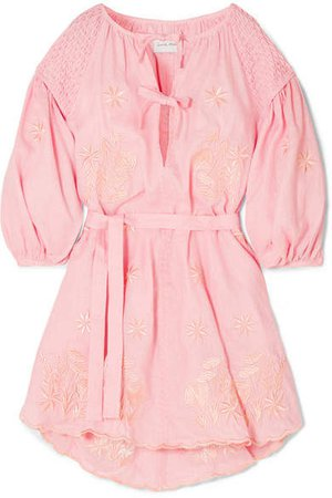 Innika Choo - Smocked Embroidered Linen Dress - Pink