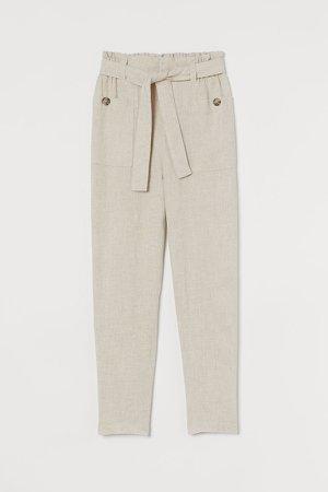 Linen-blend Pants - Beige