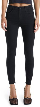 'The Looker' Frayed Ankle Skinny Jeans