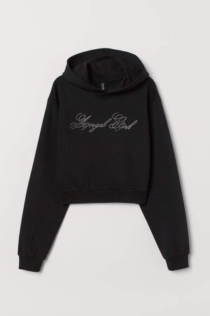 Short Hooded Sweatshirt - Black