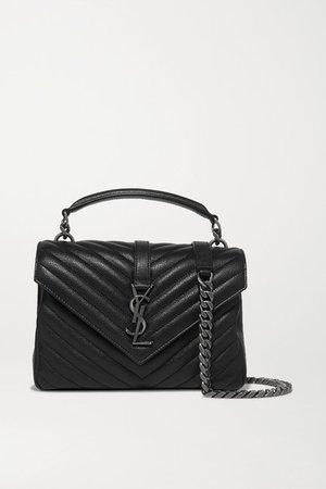 College Medium Quilted Textured-leather Shoulder Bag - Black