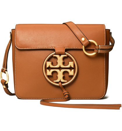 Tory Burch Miller Metal Logo Leather Flap Crossbody Bag | Nordstrom