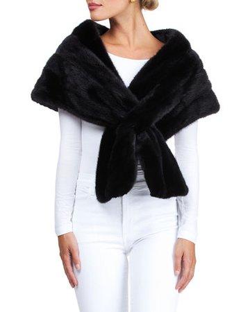 Gorski mink fur stole in black