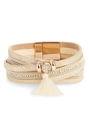 Panacea Tassel Leather & Crystal Multi Row Bracelet | Nordstrom
