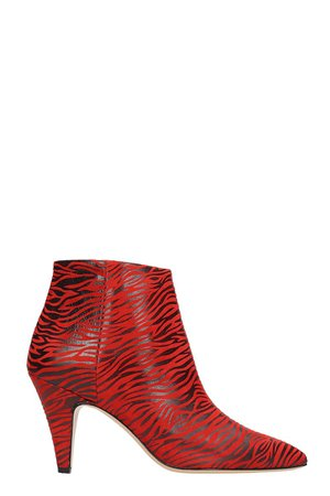 Alchimia Zebra Red And Black Print Suede And Leather Ankle Boots