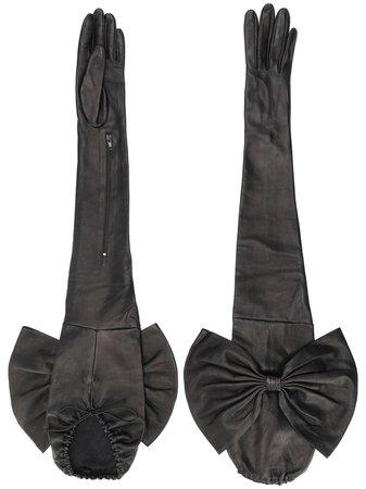 Manokhi long bow gloves black AW20MANO244A399BOW - Farfetch