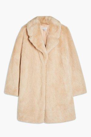 Nude Luxe Faux Fur Coat   Topshop