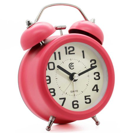 Hot Pink Twin Bell Alarm Clock