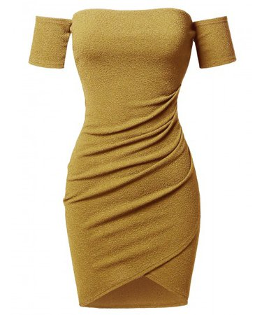 Women's Sexy Off Shoulder Over-Lapped Body-Con Mini Dress - FashionOutfit.com