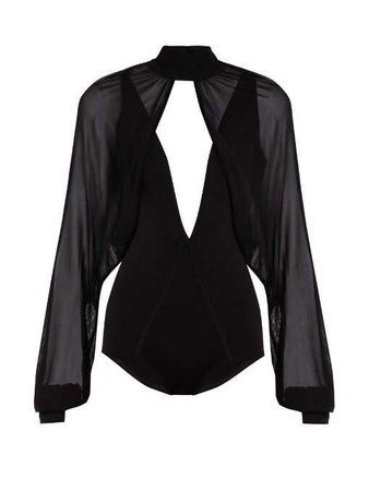 Balmain Sheer Overlay Stretch Knit Bodysuit in Black