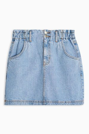 Mid Stone Denim Paperbag Mini Skirt | Topshop
