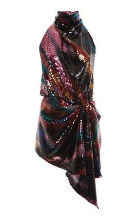 Draped Sequined Chiffon Mini Dress by The Attico | Moda Operandi