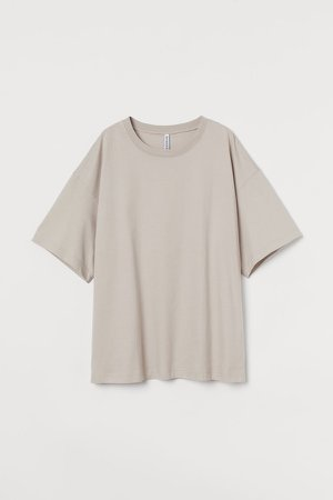 H&M+ Wide-cut Cotton T-shirt - Brown