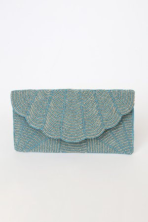 Glam Blue Clutch - Beaded Clutch - Envelope Clutch - Lulus