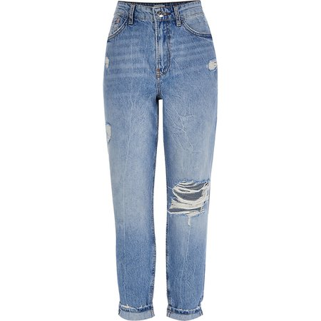 Blue Carrie ripped detail jeans | River Island