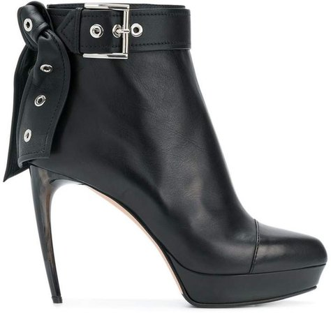 leather tie ankle boots