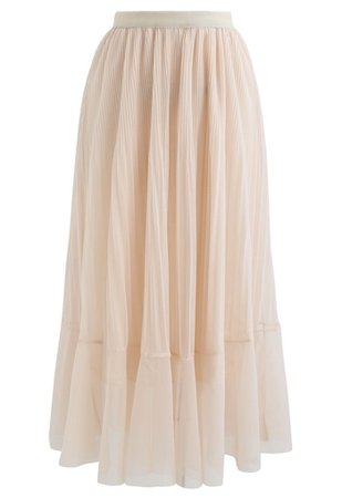 Lightsome Chiffon Pleated Midi Skirt in Cream - Retro, Indie and Unique Fashion