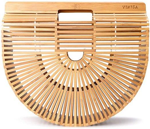 Amazon.com: Vintga Bamboo Bags for Women Summer Straw Bags Wooden Beach Purses Basket Handle Handbags: Shoes