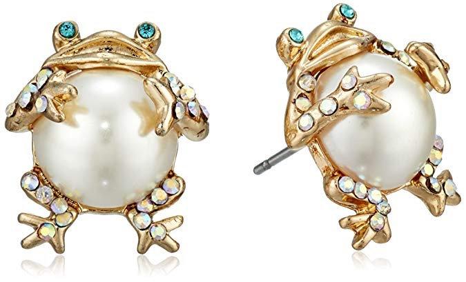 Betsey Johnson frog earrings