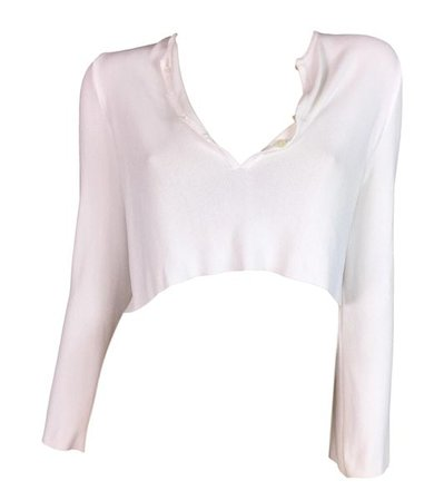 S/S 1996 Gucci by Tom Ford White Plunging L/S Crop Top | My Haute Wardrobe