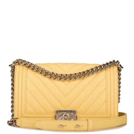 Chanel Yellow Chevron Caviar Medium Boy Bag Light Gold Hardware – Madison Avenue Couture
