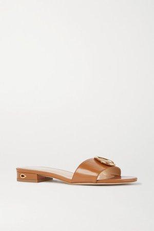 Andrea Embellished Leather Sandals - Tan