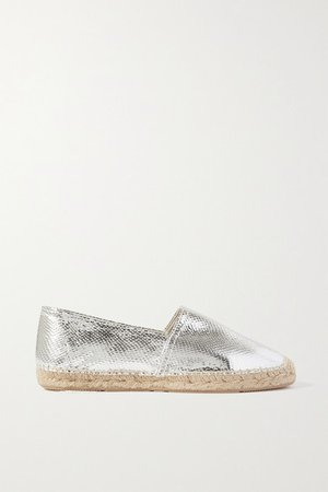 Canae Metallic Snake-effect Leather Espadrilles - Silver