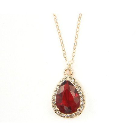 Gold & Red Ruby Raindrop Pendant Necklace