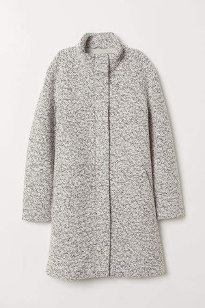 Coat with Stand-up Collar - White