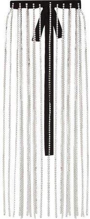 Crystal, Wool And Grosgrain Skirt - Silver