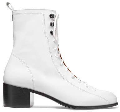 BY FAR - Bota Lace-up Leather Ankle Boots - White