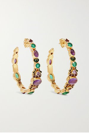 Gold Gold-plated and enamel multi-stone hoop earrings | Percossi Papi | NET-A-PORTER
