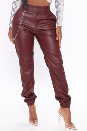 Breaking Hearts Faux Leather Joggers