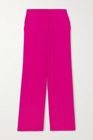 Wool-gabardine Straight-leg Pants - Fuchsia