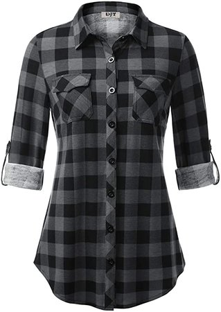 DJT Women's Roll Up Long Sleeve Collared Button Down Plaid Shirt at Amazon Women's Clothing store