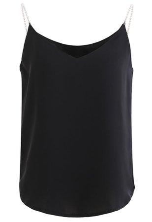 Pearl Straps Satin Cami Tank Top in Black - Retro, Indie and Unique Fashion
