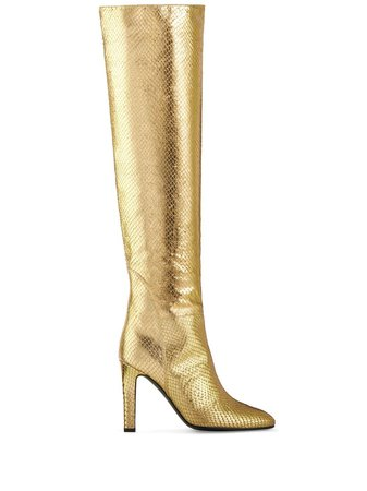 Shop gold Giuseppe Zanotti metallic knee-length boots with Express Delivery - Farfetch