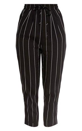 Diya Black Pin Stripe Casual Trousers   PrettyLittleThing