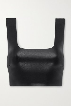 Black Cropped faux stretch-leather top | Commando | NET-A-PORTER