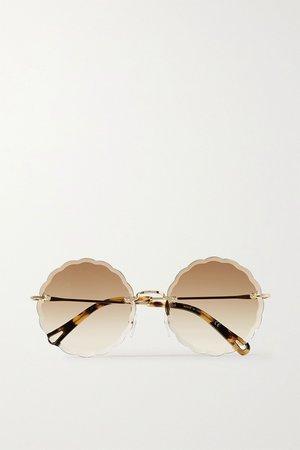 Brown Rosie round-frame gold-tone and tortoiseshell acetate sunglasses | Chloé | NET-A-PORTER
