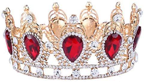 Amazon.com: Santfe King Queen Red Ruby or Emerald Stone Rhinestone Crystal Teardrop Headband Tiara Crown: Beauty