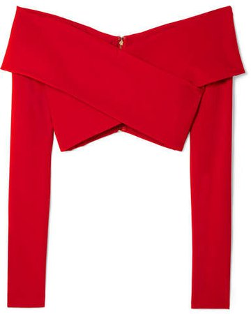 Off-the-shoulder Cropped Stretch-crepe Top - Red
