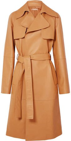Belted Leather Trench Coat - Tan