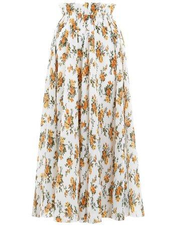 Tangerine Vine Floral Golden Plisse Skirt