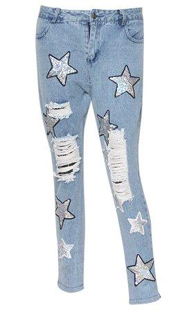 Fallen Star Light Blue Denim Straight Leg Distressed Rips Tears Sequin – Indie XO