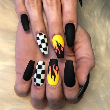 yellow and black coffin nails - Google Search